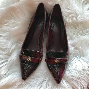 Tory Burch Burgundy Leather Kitchen Heels